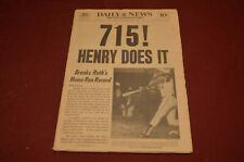 715! HENRY ( AARON ) DOES IT, APRIL 9, 1974 NEW YORK DAILY NEWS
