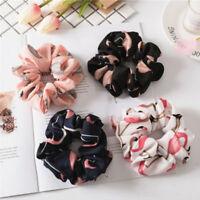 Lady's Elastic Hair Rope Ring Tie Scrunchie Ponytail Holder Flamingos Hair Band