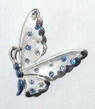 Rainbow, Blue Crystal Butterfly Brooch Pin 31Mm Silver & Blue Enamel Encrusted