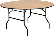 Flash Furniture 60 Round Wood Folding Banquet Table w/Clear Coated Finished Top