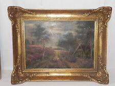 Antikes Ölgemälde Öl Gemälde Bild um 1860 Windmühle Waldhütte Mühle