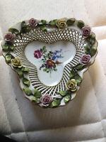 Antique Von Schierholz German Handpainted Basket Weave Porcelain Dish 1907-1927