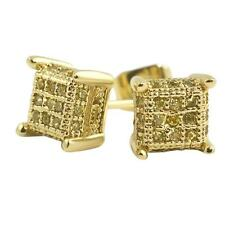 Cz Bling Bling Earrings IcedOut Ear Jewelry Small 3D Cube Hip Hop Gold Canary