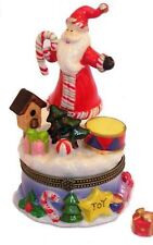 Santa on a Spring #2-Porcelain Hinged-Box.Elaborate and Super Colorful