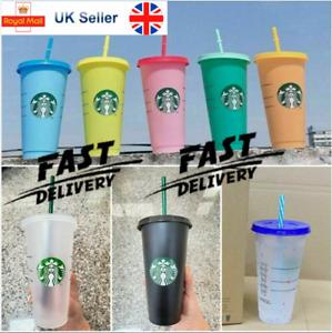 1-5PCS Fashion Starbucks Logo Reusable Plastic Cold Cup with Straw 24 Floz New