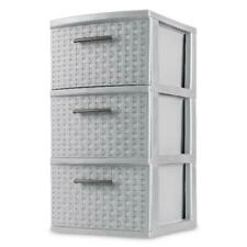 Storage Organizer 2 Pack 3 Drawer Weave Cabinet Box Container Drawers Plastic