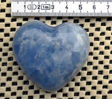 ► GROSSO CUORE DI CALCITE BLU CM 5.50 x 5.30 x 2.38 SCULTURA HEART AAAA+ ◄