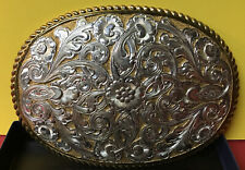 VTG Western  Crumrine Silver Plate Jewelers' Bronze Belt Buckle