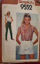Simplicity pattern 9552 Misses'Shirt, Wide-Leg Shorts, Pants sz 14 bust 36 uncut