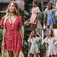 Women Floral Chiffon Deep V Summer Party Evening Beach Short Mini Dress Sundress