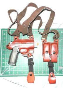 Tagua SH4-1157 RH Leather Shoulder Holster Dual Magazine Pouch for Kahr PM45