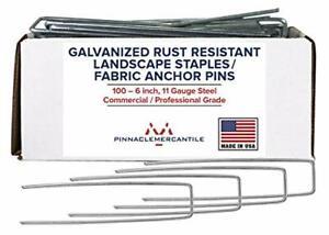 100 Galvanized Garden Landscape Staples Fabric Anchor Pins Anti Rust 6 inch 11