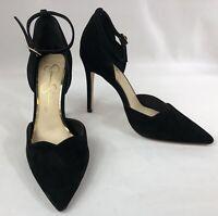 Jessica Simpson Pairus Women's Black Suede Ankle Strap Heels Size 5.5 M