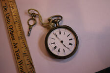 """Vintage Pocket watch - with Winding Key """"Cylindre Disc Rubis"""" engraved case JSH"""