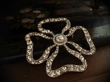 Large Four Leaf Clover Crystal Brooch Made with Swarovski Elements.