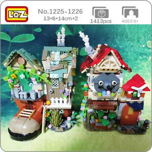 LOZ Forest Cabin Shoe Wolf House Animal Flower DIY Mini Blocks Building Toy 2pcs