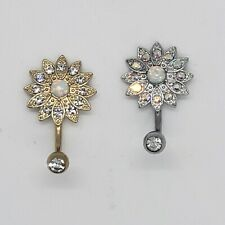 Cz Flower Design Surgical Steel 14g Simulated Belly Button Ring Pack of 2 Opal &