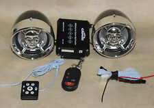 "Skull 3.5"" Motorcycle Bluetooth Amplified Speaker Audio System Alarm FM Package"