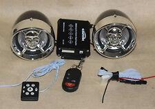 "Skull 3.5"" Motorcycle Bluetooth Amplified Speaker Audio System Alarm FM Package"