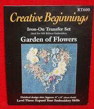 "Iron On Transfers Ribbon Embroidery ""Garden of Flowers"" RT600 NEW (40)"