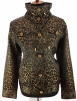 Berek Womens Jacket Embellished Rhinestone Shimmer Metallic Gold Print Sz Large