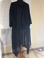 LuLaRoe Shirley Kimono Solid Black Lace Floral L Large Lightweight Sheer NWT