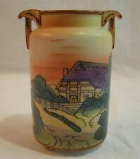 Beautiful Nippon Trees Wood Village Scene Hand Painted Vase Footed MORIMURA