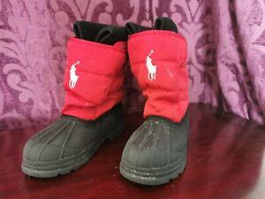 Genuine Ralph Lauren Polo Kids Black/Red Snow Winter Boots Size UK 2