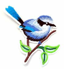 Blue Bird Iron On Patch- Animal Nature Garden Badge Embroidered Applique Crafts