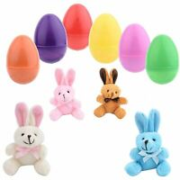 12 Toy Filled Easter Eggs With Miniature Stuffed Bunnies In Pastel Colors -...