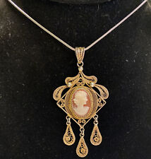 W/ 925 Necklace - 11 Grams Beautiful Chandelier Cameo Pendant Signed 800 Silver