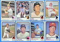 (8) 1973 Topps Baseball #400's Lot Rick Reuschel Casey Cox Ken Brett Gerry Moses