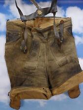 Vermutlich 30/40er Jahre Vintage brutal verspeckte kurze Träger Lederhose Gr.52