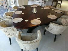 9-12 seater very Large Dining Table, Plectrum Top, Chunky 'smoked Oak Stain'