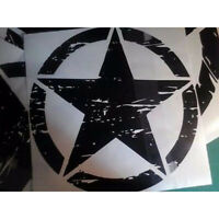 Big Stickers Cars Army Star Distressed Decal Jeep Sticker Large Edition Black