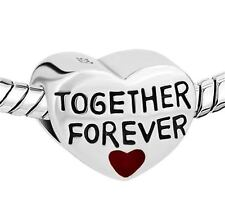Together Forever heart Jewellery Silver Fashion Charm 4 Bead Bracelet