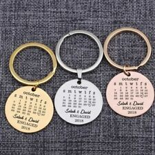 Die Stamped Cheap Calendar Style Memorial Wedding Date key chain 50 pieces
