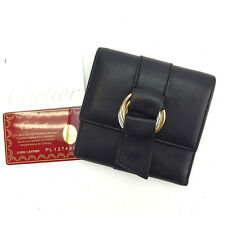 Cartier Wallet Purse Trifold Trinity Black Gold Woman Authentic Used C2035