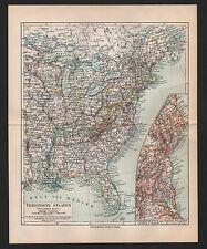 Landkarte map 1908: USA VEREINIGTE STAATEN ÖSTLICHES BLATT Maßstab 1:12.000.000