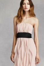 19e06928409  Make Offer  NWT Size 10 Vera Wang White Blush Chiffon Ruffle Strapless Gown