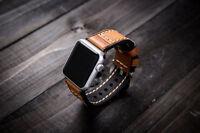 Para Apple Reloj Naranja Vintage Correa De Piel Pulsera De Muñeca Serie 2 3 42mm