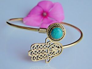 Chinese Turquoise Bracelet Hamsa Hand Of Fatima Brass Tribal Hand Cuff Bangle