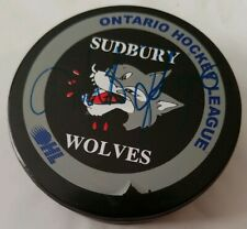 UNKNOWN SIG! SIGNED SUDBURY WOLVES MMOFFICIAL GAME PUCK OHL TIRE PEOPLE SPONSOR