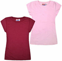 Ladies Plain T-shirt New Womans Soft Feel Distressed Tee Short Sleeve Top XS - L