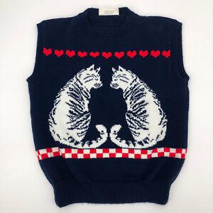 Vintage Grayson's Sweater Vest  Sz M Women's Novelty Cat Kittens Hearts Checkers