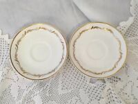 "2 Royal Stafford ""Especially "" Vintage Gold Gilded Bone China Saucers Spares"