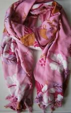 Soft Cotton Scarf/Pareo - Pink with White Flowers