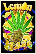 LEMON HAZE - WEED BLACKLIGHT POSTER - 24X36 FLOCKED MARIJUANA SMOKING 1666