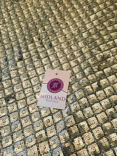 Diamond shaped antique matt gold sewn on sequins dress fabric Shiny  M78 Mtex