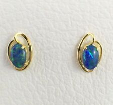Unique Small Triplet Opal Stud Earrings Claw 18ct Gold Plated with Certificate